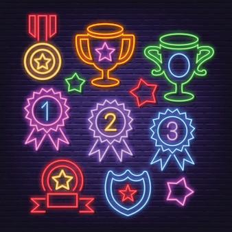 Award neon icons set