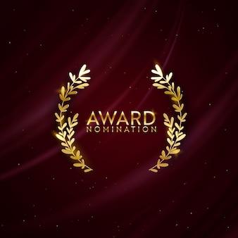 Предпосылка дизайна номинации премии. золотой победитель блеск баннер с лавровым венком. векторный шаблон приглашения роскоши церемонии, реалистичные шелковые абстрактные текстуры ткани, бизнес номинанта премии