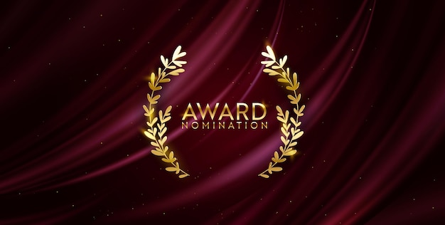 Премия номинация дизайн баннера. золотой победитель блеск фон с лавровым венком. векторный шаблон приглашения роскоши церемонии, реалистичные шелковые абстрактные текстуры ткани, бизнес номинанта премии