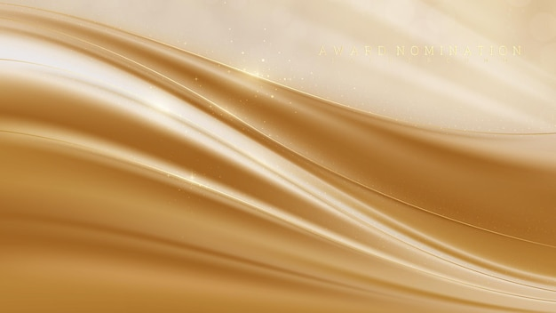 고급 배경에 대한 수상 후보, 갈색 캔버스 장면의 황금 곡선 라인 반짝임, 현대적인 템플릿 달콤하고 부드러운 느낌의 디자인에 대한 현실적인 3d 벡터 일러스트레이션.