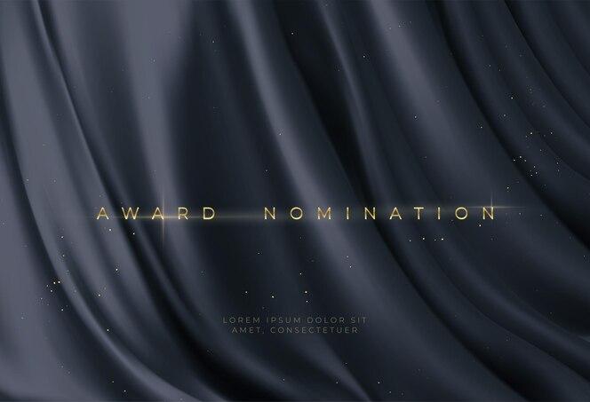 豪華な黒い波状の背景に賞のノミネート