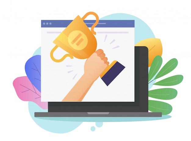 ラップトップコンピューターでオンラインwebベクトルまたはデジタルインターネットwebサイトの勝者賞の達成を賞します。