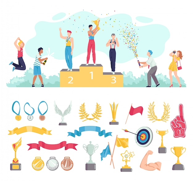 Award for people win in sport  illustration set, cartoon  sportsman characters standing on podium, awards icons  on white