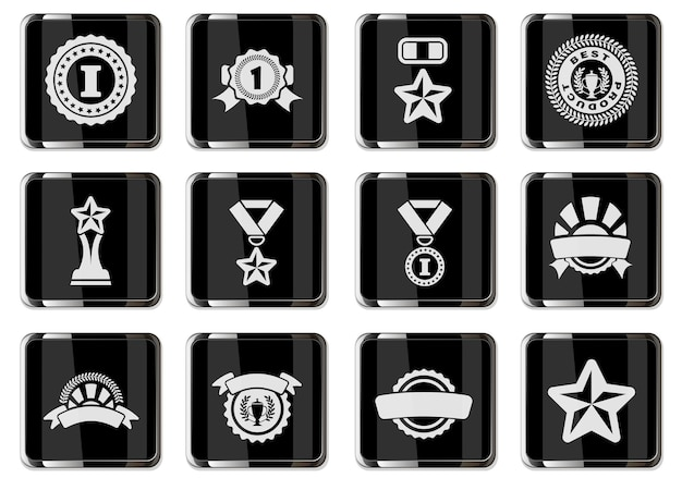 Award pictograms in black chrome buttons. icons set isolated for user interface design. vector illustration