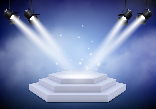 Award podium. empty trophy event stage with stairs projector lighting and fog realistic background