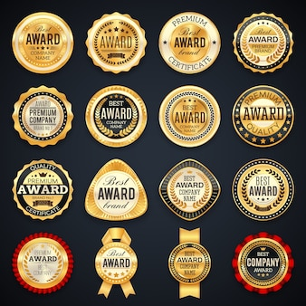Award and quality labels emblems with golden frames