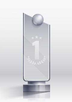 Award realistic concept with winner victory and pedestal symbols