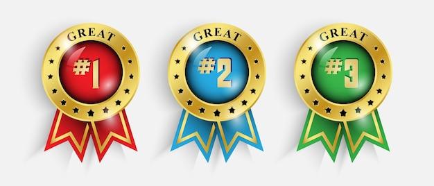 Наградная лента золотой значок номер первый, второй и третий. роскошная медаль победителя дизайна