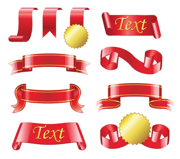 Наградная лента - реалистичный современный векторный набор различных красных полос с копией пространства для вашего текста. белый фон. используйте эти качественные элементы клип-арта для своего дизайна. получить или вручить приз, медаль.