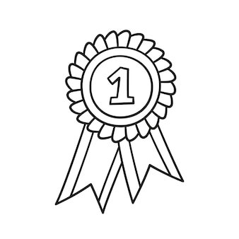 Award rosette doodle icon. hand drawn medal with first place as winner concept.