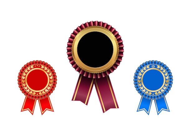Award rosette with ribbon icon set