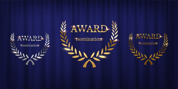 Award signs with laurel wreath isolated on blue curtain background
