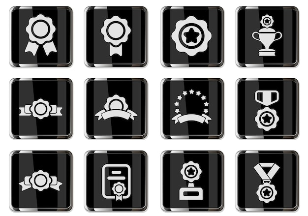 Award symbol set isolated for user interface design. vector icons