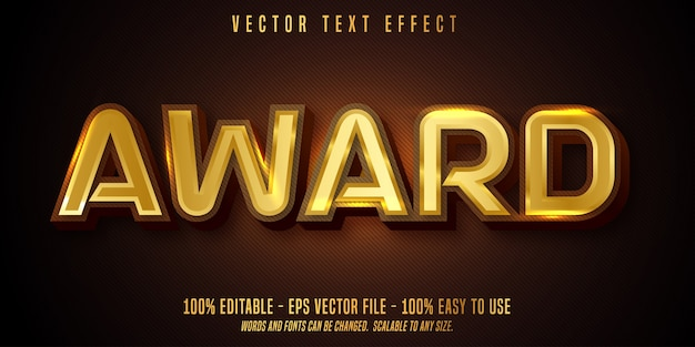 Award text, shiny gold style editable text effect