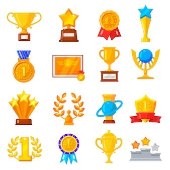 Award trophy icon set