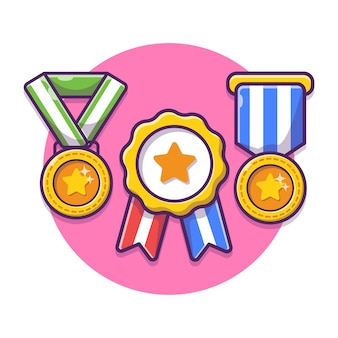 Награда трофей медаль мультфильм иллюстрации. победившая награда чемпиона золотой трофей.