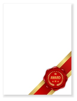 Award wax seal icon on certificate document blank paper