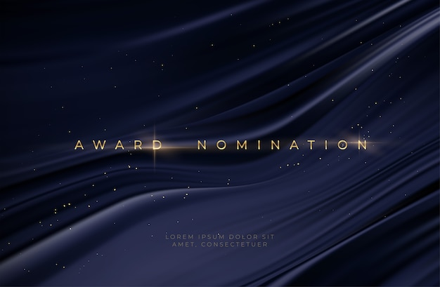 Awarding the nomination ceremony luxury black wavy background with golden glitter sparkles.