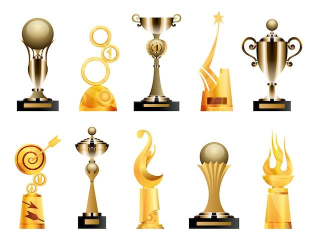 賞とトロフィーカップ。トライアンフスポーツの賞と賞品、優勝トロフィーのゴールドカップのイラスト。最高の競争の成果。さまざまな形の賞。