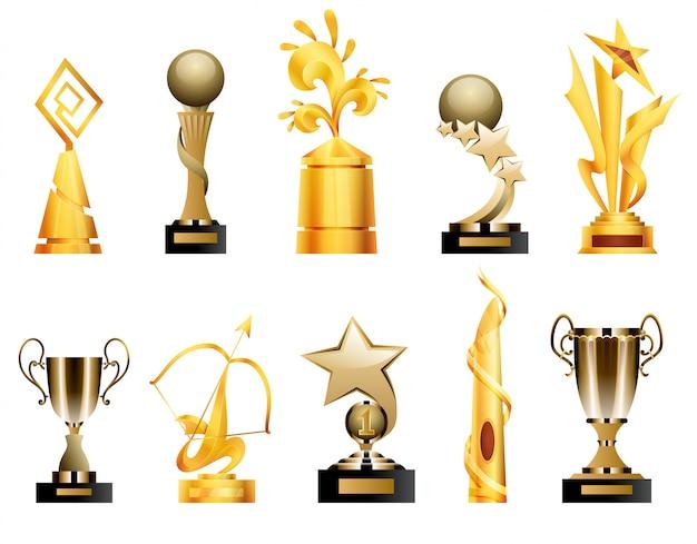 Награды и трофейные кубки. спортивные награды и призы triumph, иллюстрация золотого кубка трофея победителя.