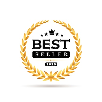 Awards best seller badge logo . golden best seller  illustration. isolated on white background.