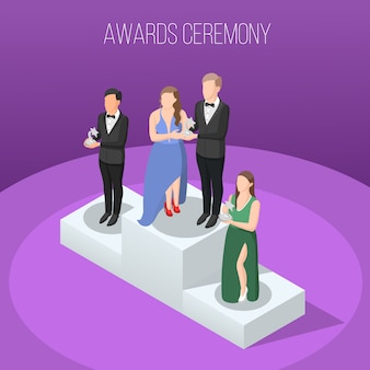 Awards ceremony isometric composition