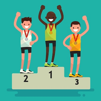 Церемония награждения. три спортсмена с медалями на постаменте.
