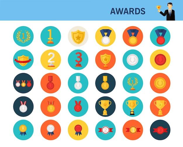 Концепции награды плоские иконки.