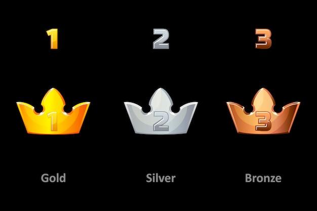 クラウンアイコンを賞します。ゴールド、シルバー、ブロンズのクラウン賞を受賞者に贈呈。ロゴ、ラベル、ゲーム、アプリの要素。ロイヤルキング、クイーン、プリンセスクラウン