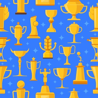 Awards and cups seamless illustration