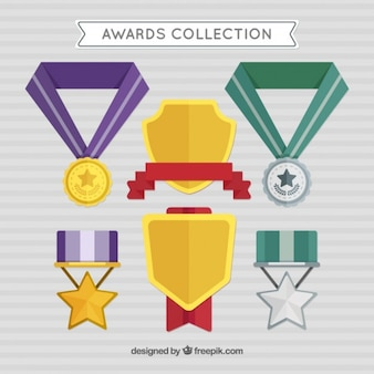 Awards in flat design with colors details