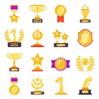 Awards icons. trophy medal prize with ribbons for winners flat symbols isolated