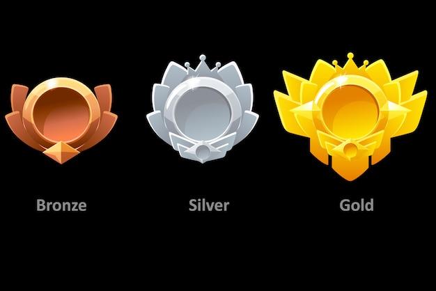 Награды медали золото, серебро и бронза для gui game.