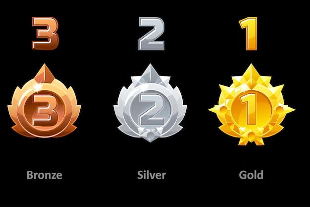 Награды медали золотые, серебряные и бронзовые. награды 1, 2 и 3 место за gui game. награда за шаблон