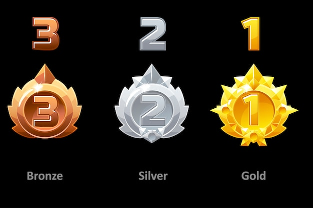 Awards medals gold, silver and bronze. rewards 1st , 2nd and 3rd place for gui game. template award