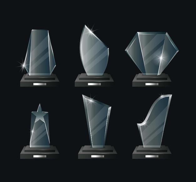 Награды реалистичный набор. успех, достижение, чемпионство. награды в спорте и кино