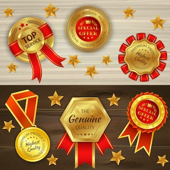 Awards realistic on wooden textured background with red golden medals and stars isolated