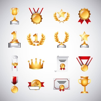 トロフィーメダルを受賞し、リボンの成功アイコンシンボルを獲得