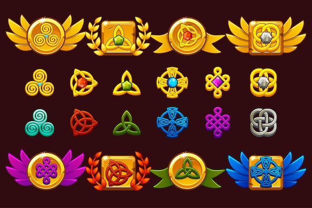 Awards with celtic symbols. template receiving game achievement.