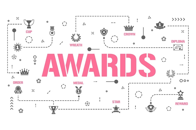 Awards word concepts banner. winner prize reward. honors for best sportsmen infographics. presentation, website. ui ux idea. isolated lettering typography with glyph icons. vector flat illustration.
