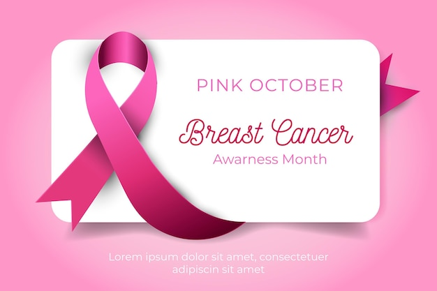 Awareness month with realistic pink ribbon