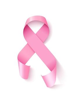 意識ピンクリボンループ現実的なベクトルイラスト。白の女性の希望と乳がん予防の3dシンボル。サテンリボンのデザイン要素。女性腫瘍疾患連帯エンブレム