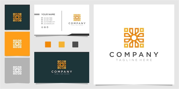 名刺と素晴らしい抽象的なロゴデザイン
