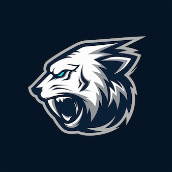 Awesome angry white tiger head logo mascot vector illustration