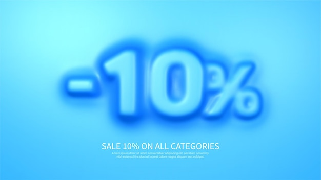 Awesome banner template with convex 10 percent symbol amazing blue banner for sale and discount