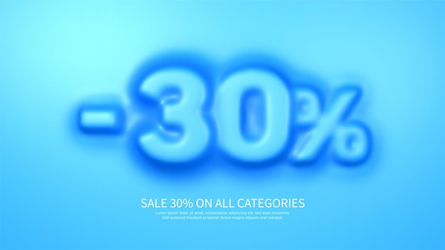 Awesome banner template with convex 30 percent symbol