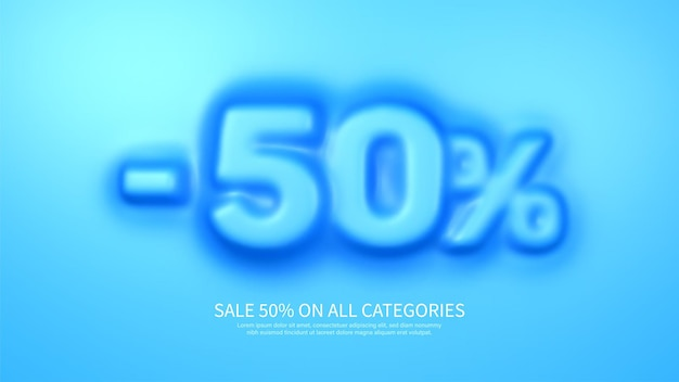 Awesome banner template with convex 50 percent symbol