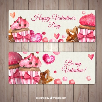 Awesome banners with cupcakes for valentine's day