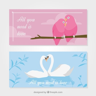 Awesome banners with loving animals' couples for valentine's day