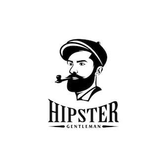 Awesome bearded  man logo with pipe tobacco template